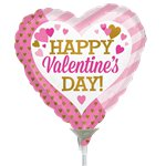 Happy Valentine's Day Pink and Gold Balloon on a Stick