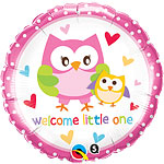 "Welcome Little One Owls Balloon - 18"" Foil"