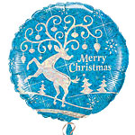 """Merry Christmas"" Reindeer Balloon - 18"" Foil"