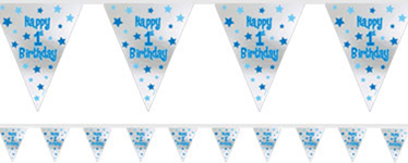 First Birthday Boy Foil Bunting - 3.65m