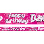 Happy Birthday Daughter Pink Foil Banner - 2.7m