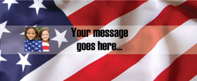 American Flag Personalised Banner - 6ft x 2.5ft