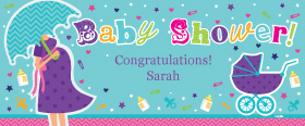 Baby Shower Girls Personalised Banner - 6ft x 2.5ft