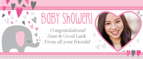 Baby Shower Umbrellaphants Pink Personalised Banner - 6ft x 2.5ft