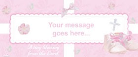 Christening Girls Personalised Banner - 6ft x 2.5ft