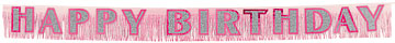 Birthday Pink Fringed Banner