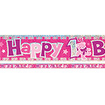 Happy 1st Birthday Pink Banner
