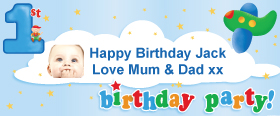 1st Birthday Boys Personalised Banner - 6ft x 2.5ft