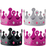 Black & Pink Metallic Crown Party Hats - 13cm