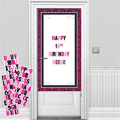 Black & Pink Personalisable Door Decorating Kit - 1.7m