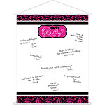 Black & Pink Happy Birthday Sign In Sheet - 61cm