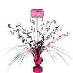 Black & Pink Happy Birthday Spray Table Centrepiece - 46cm