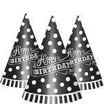 Black & White Happy Birthday Cone Party Hats - 17cm