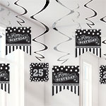 Black & White Personalisable Hanging Swirls - 18cm