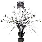 Black & White Happy Birthday Spray Table Centrepiece - 46cm