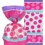 Pink & Teal Cellophane Party Bags - 24cm