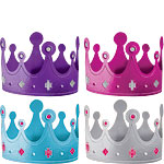 Pink & Teal Metallic Crown Party Hats - 13cm
