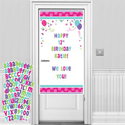 Pink & Teal Personalisable Door Decorating Kit - 1.7m