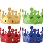 Primary Colour Crown Party Hats
