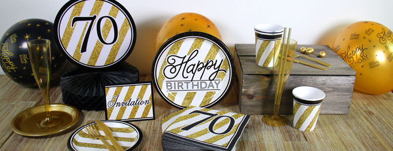 Black Gold 70th Birthday Party Supplies
