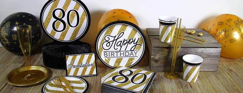 Black Amp Gold 80th Birthday Party Supplies Party Delights