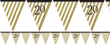 Age 20 Black & Gold Glitter Bunting - 3.7m