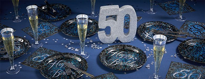 50th Glitz Blue Birthday Party Supplies