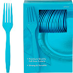 Turquoise Plastic Forks