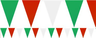 Red, White & Green Solid Colour Bunting – Plastic 9m