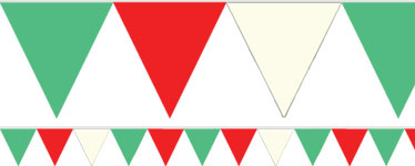 Red, White & Green Solid Colour Plastic Bunting – 9m