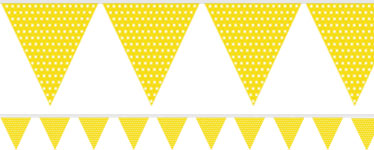 Yellow Polka Dot Paper Bunting - 1.7m