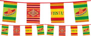 Fiesta Themed Rectangular Paper Bunting - 10m