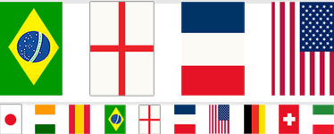 Multi Nations Bunting - Plastic 7m