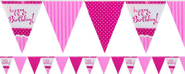 Happy Birthday Perfectly Pink Paper Bunting - 3.7m