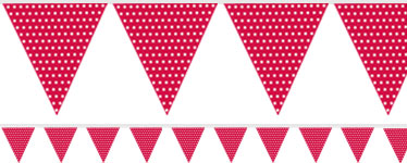 Red Polka Dot Paper Bunting - 1.7m