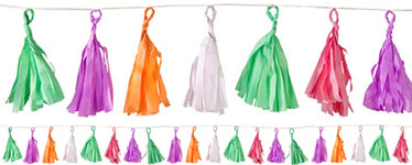 Coloured Tassel Garland Decoration - 12m