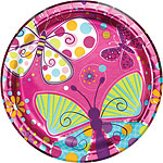 Butterfly Sparkle Plates - 23cm Paper Party Plates