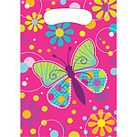 Butterfly Sparkle Party Bags - Plastic Loot Bags