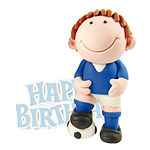 Blue Footballer Cake Topper Figure