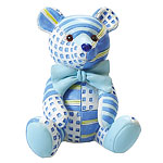Blue Patchwork Teddy Cake Topper Figure
