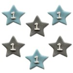 One Little Star Blue Sugar Toppers - Cake Decorations