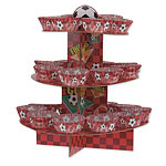 Red Football Cup Cake Kit - Stand, Picks & Cases