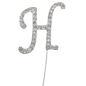 Letter H Diamante Cake Pick