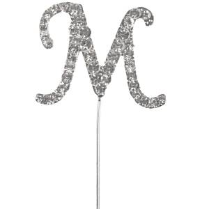 Letter M Diamante Cake Pick