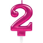2nd Birthday Candle - Pink 7.5cm