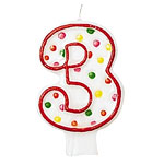 3rd Birthday Candle - Polka Dot 7.6cm