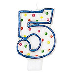5th Birthday Candle - Polka Dot 7.6cm
