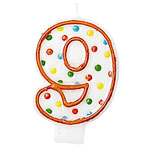 9th Birthday Candle - Polka Dot 7.6cm