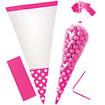 Cellophane Cone Sweet Bags - Bright Pink