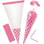 Cellophane Cone Sweet Bags - New Pink